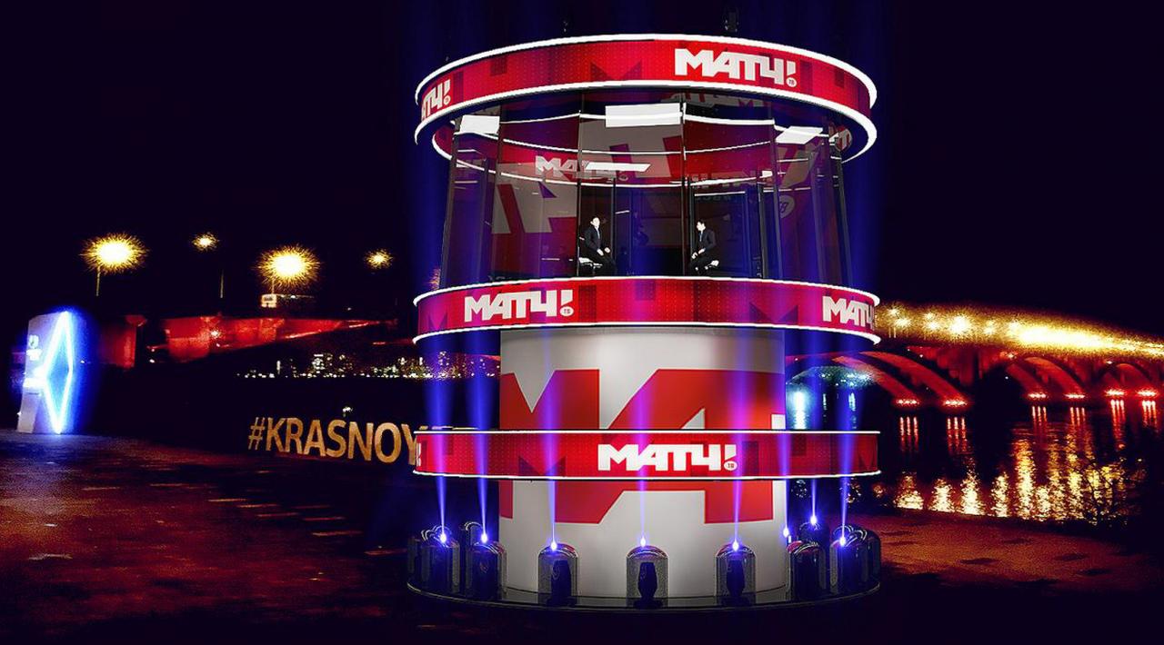 У Коммунального моста монтируют выездную студию «Матч-ТВ»