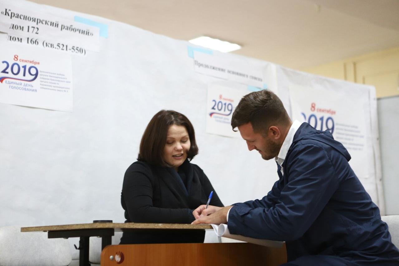 По предварительным итогам на выборах в Красноярске лидируют Марина Добровольская и Николай Олюнин