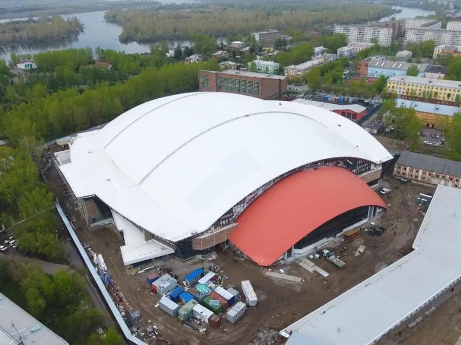 Стадион «Енисей» показали с высоты птичьего полёта